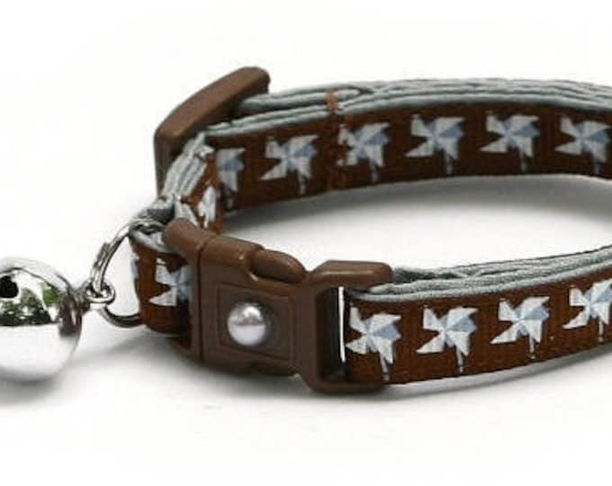 Pinwheel Cat Collar - Silver Pinwheels on Brown- Small Cat / Kitten Size or Large Size