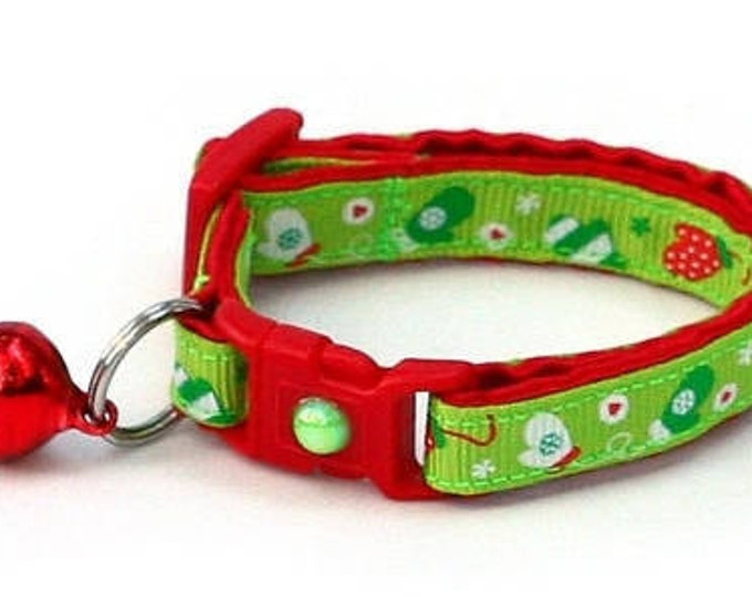 Winter Cat Collar - Red Mittens on Green - Small Cat / Kitten or Large(standard) Size Collar