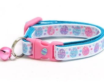 Easter Cat Collar - Blue, Pink, and Purple Easter Eggs - Kitten or Large Size B115D8