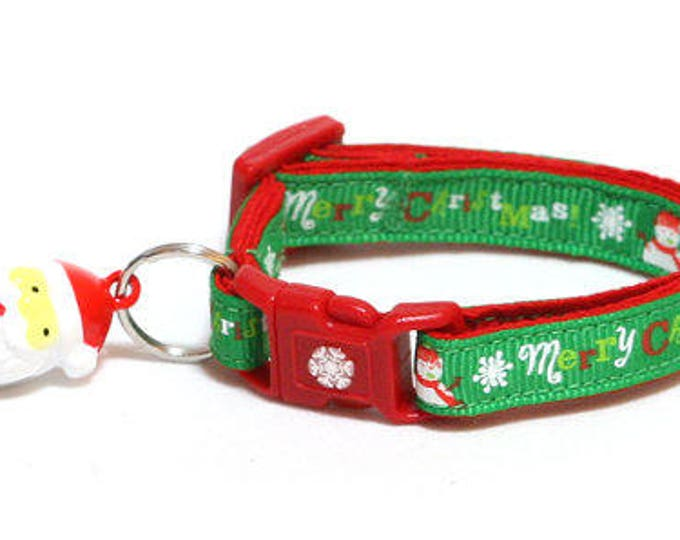 Christmas Cat Collar - Merry Christmas Snowmen on Green - Kitten or Large Size