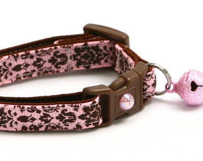 Damask Cat Collar - Brown Damask on Light Pink - Small Cat / Kitten Size or Large Size