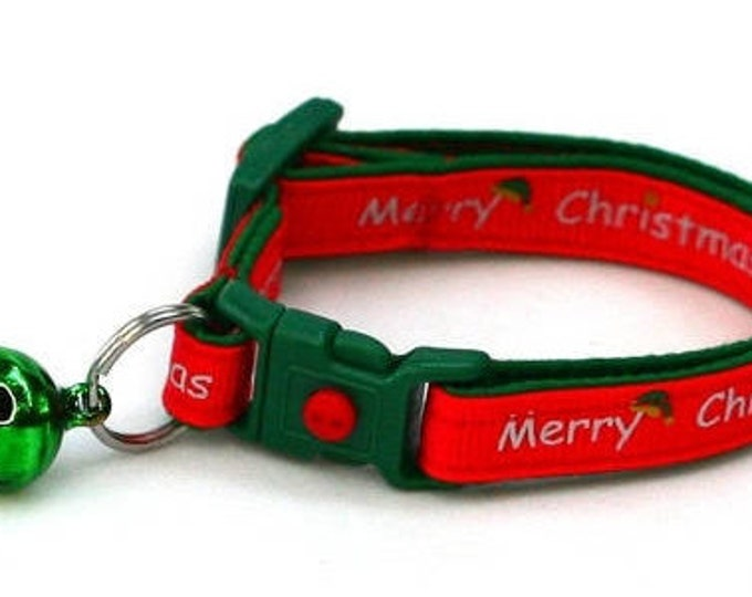 Christmas Cat Collar - Merry Christmas on Red  - Kitten or Large Size