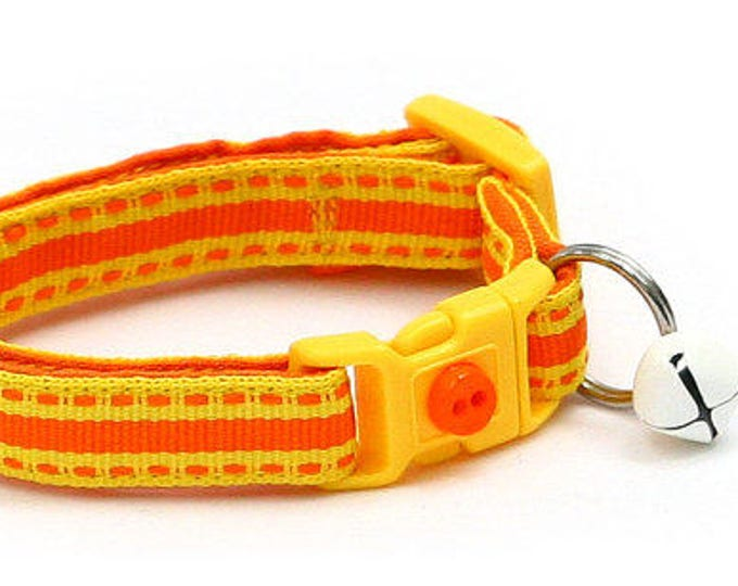 Halloween Cat Collar - Candy Corn Stripe - Kitten or Large Size