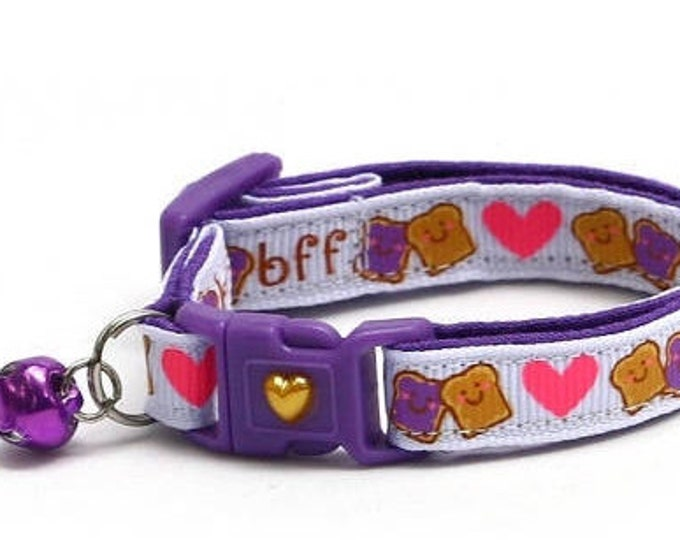 Best Friends Cat Collar - Peanut Butter and Jelly BFF on White - Small Cat / Kitten Size or Large Size