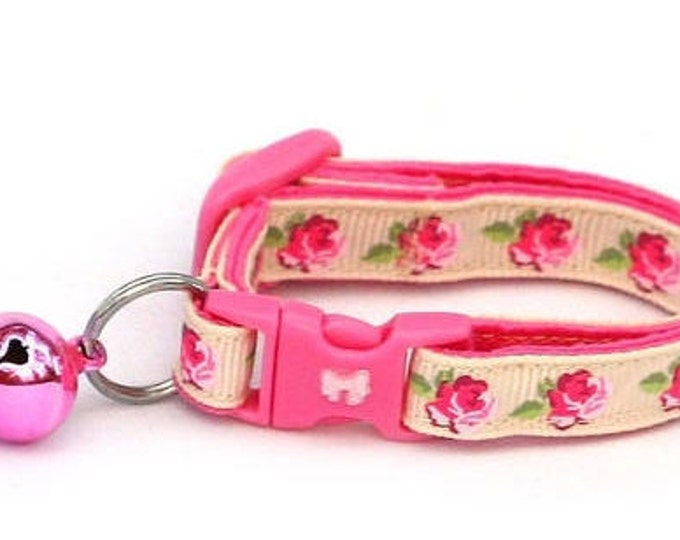 Floral Cat Collar - Pink Tea Party Roses on Cream - Small Cat / Kitten Size or Large Size B7D37