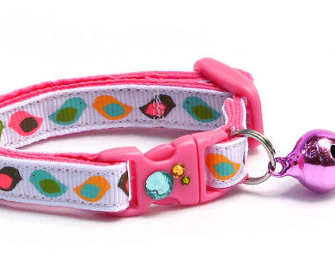 Bird Cat Collar - Colorful Modern Birds - Small Cat / Kitten Size or Large Size
