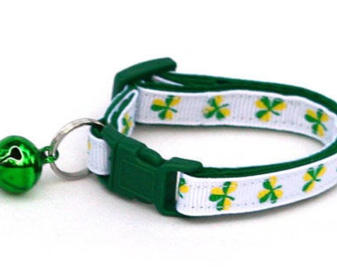St. Patrick's Day Cat Collar - Bold Shamrocks on White - Small Cat / Kitten or Large Cat Collar