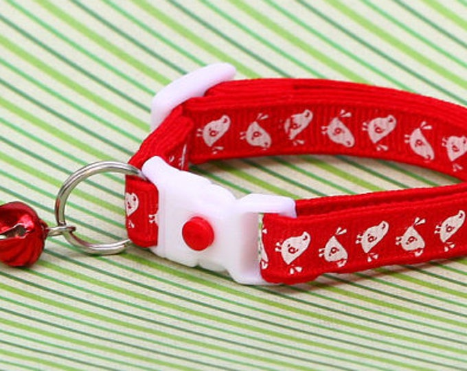 Bird Cat Collar - White Birds on Red - Kitten or Large Size