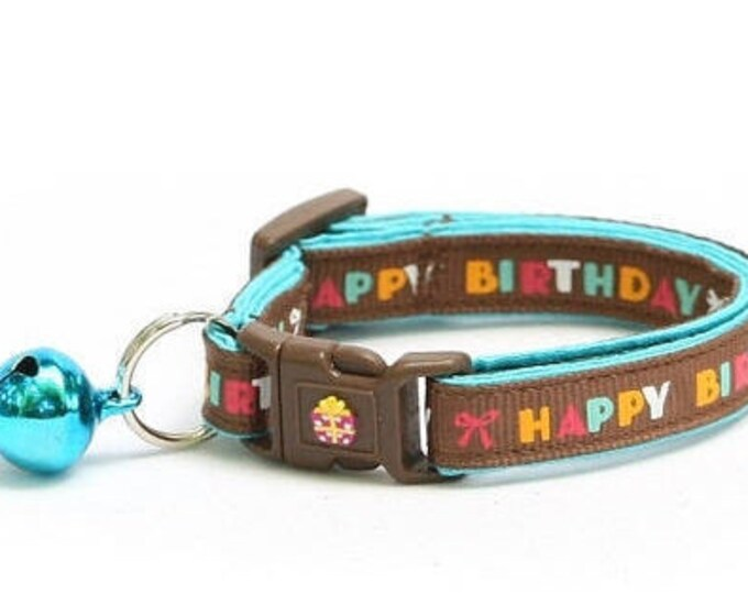Birthday Cat Collar - Happy Birthday on Brown - Kitten or Large Size