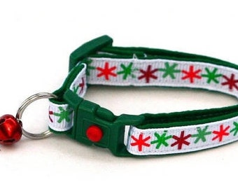Snowflake Cat Collar - Asterisk Snowflakes - Kitten or Large Size
