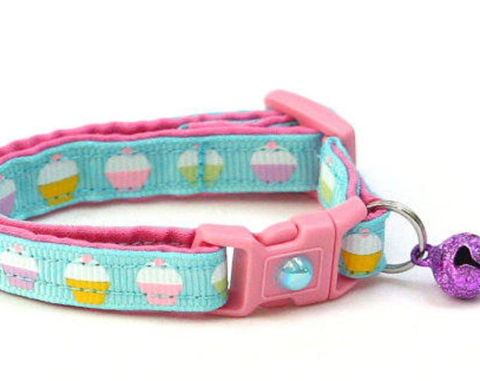 Cupcake Cat Collar - Pastel Cupcakes - Kitten or Large Size