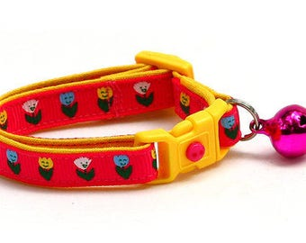 Floral Cat Collar - Happy Tulip Flowers on Bright Pink - Small Cat / Kitten Size or Large Size B51D290