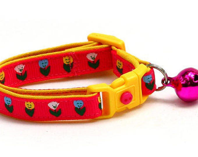 Floral Cat Collar - Happy Tulip Flowers on Bright Pink - Small Cat / Kitten Size or Large Size B51