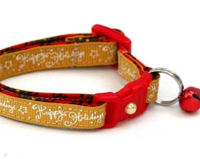 Holiday Cat Collar - Happy Holidays on Gold - Kitten or Large Size B116D69