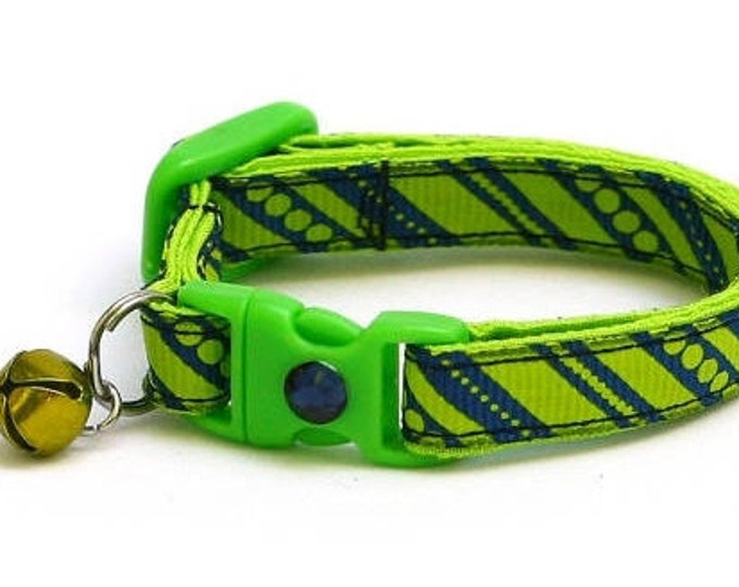 Striped Cat Collar - Neon Green Stripes on Navy Blue - Small Cat / Kitten Size or Large Size