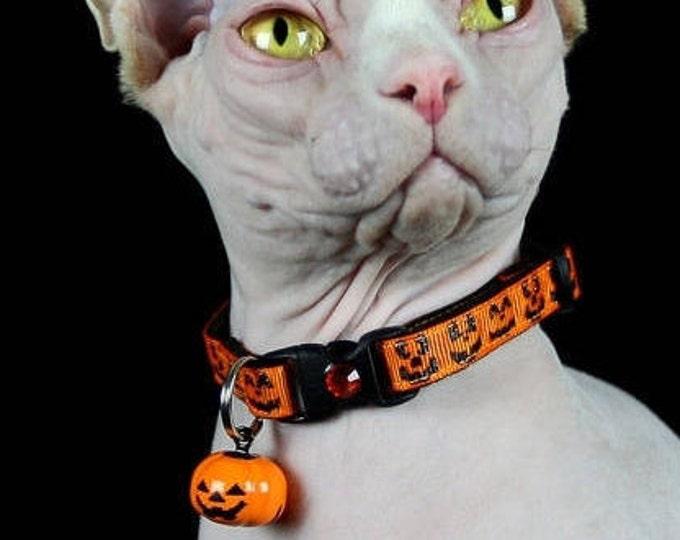 Halloween Cat Collar - Glittery Jack-O-Lantern Faces on Orange - Kitten or Large Size