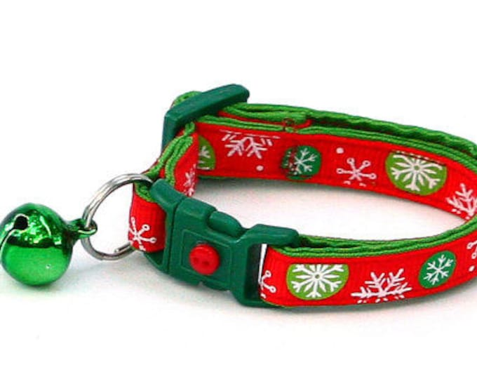 Winter Cat Collar -Snowflake Bubbles on Red - Kitten or Large Size
