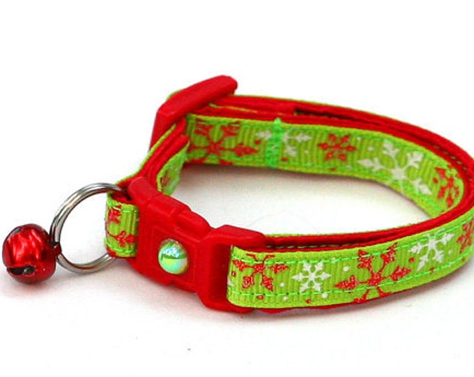 Snowflake Cat Collar - Red Snowflakes on Lime Green  - Kitten or Large Size