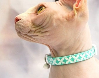 Aquamarine Cat Collar - Aquamarine Modern Design - Kitten or Large Size B61