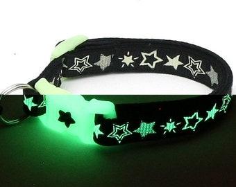 Glow in the Dark Cat Collar - Glow Stars on Black - Breakaway Cat Collar - Kitten or Large size - Glow in the Dark