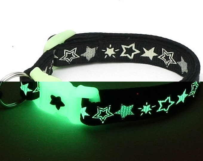 Glow in the Dark Cat Collar - Glow Stars on Black - Breakaway Cat Collar - Kitten or Large size - Glow in the Dark