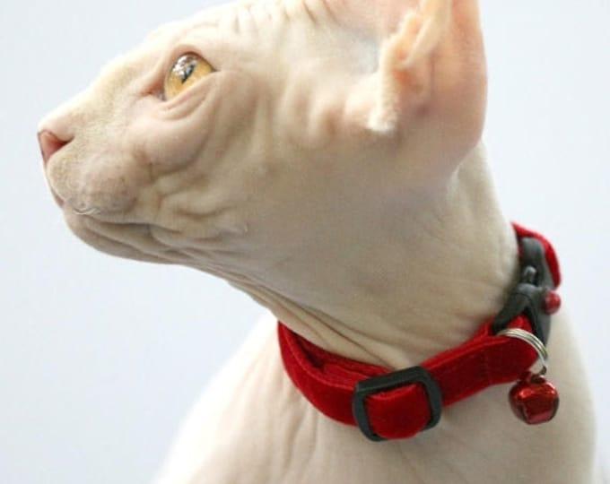 Soft Velvet Cat Collar - Classic Red - Kitten or Large Size