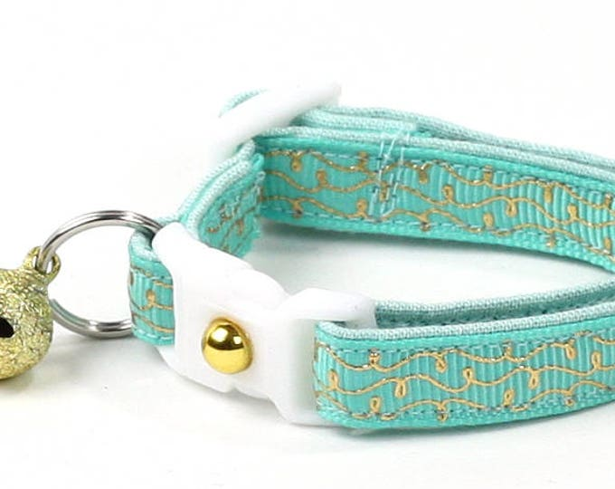 Aqua Cat Collar - Gold Squiggles on Aqua - Gold Swirls on Turquoise - Doodles - Kitten or Large Size