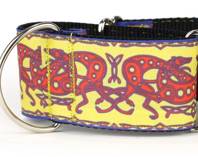 "Greyhound Dog Collar - Celtic Knot in Yellow and Red- 2"" Martingale Dog Collar (C-Yellow/Red)"