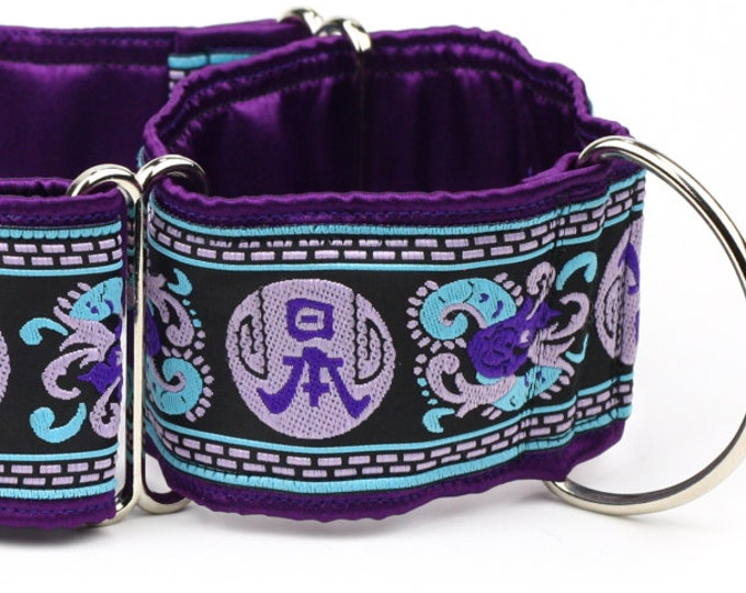 "Greyhound Dog Collar - Purple and Blue Asian Symbol- 2"" Martingale Dog Collar - Jacquard Ribbon - Satin Lined"