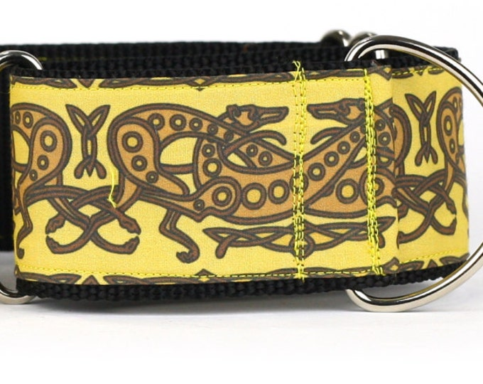 "Greyhound Dog Collar - Celtic Knot in Yellow and Brown- 2"" Martingale Dog Collar (C-Yellow/Brown)"