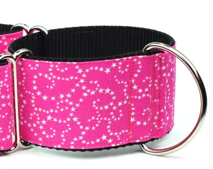 "Greyhound Dog Collar - White Stars on Pink - 2"" Martingale Dog Collar"