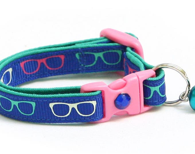 Hipster Cat Collar - Nerd Glasses on Blue - Kitten or Large Size