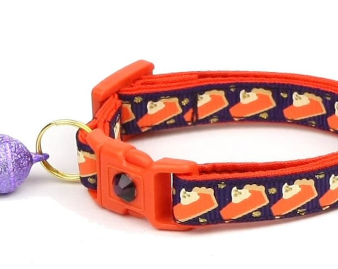 Thanksgiving Cat Collar - Pumpkin Pie Slices on Plum - Small Cat / Kitten Size or Large Size