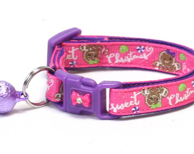 Christmas Cat Collar - Sweet Christmas on Pink - Kitten or Large Size