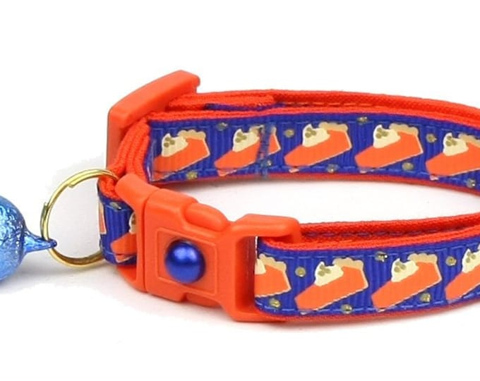 Thanksgiving Cat Collar - Pumpkin Pie Slices on Royal Blue - Small Cat / Kitten Size or Large Size