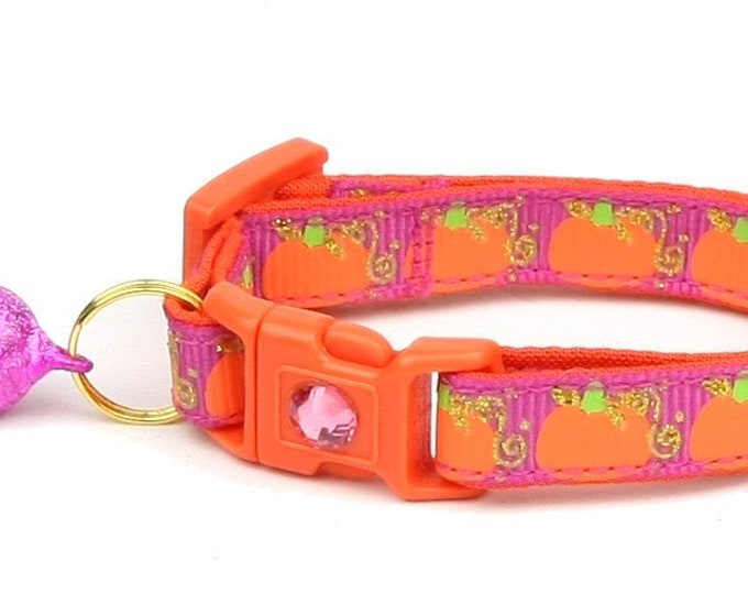 Pumpkin Cat Collar - Pumpkins and Gold on Pink - Small Cat / Kitten Size or Standard / Large Size Collar