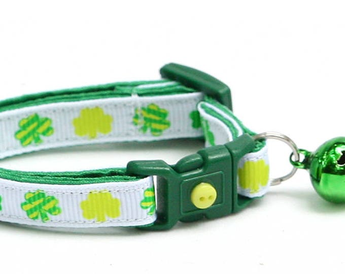 St. Patrick's Day Cat Collar - Patterned Shamrocks on White - Small Cat / Kitten or Large Cat Collar