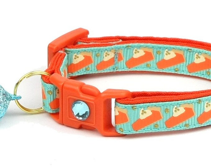 Thanksgiving Cat Collar - Pumpkin Pie Slices on Teal - Small Cat / Kitten Size or Large Size