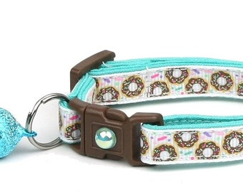 Donut Cat Collar - Sprinkle Donuts on White - Safety Breakaway - Small Cat / Kitten Size or Large Size