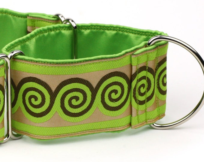 "Greyhound Dog Collar - Green and Brown Swirls - 2"" Martingale Dog Collar - Jacquard Ribbon - Satin Lined"