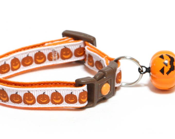 Halloween Cat Collar - Jack-O-Lanterns on White - Kitten or Large Size