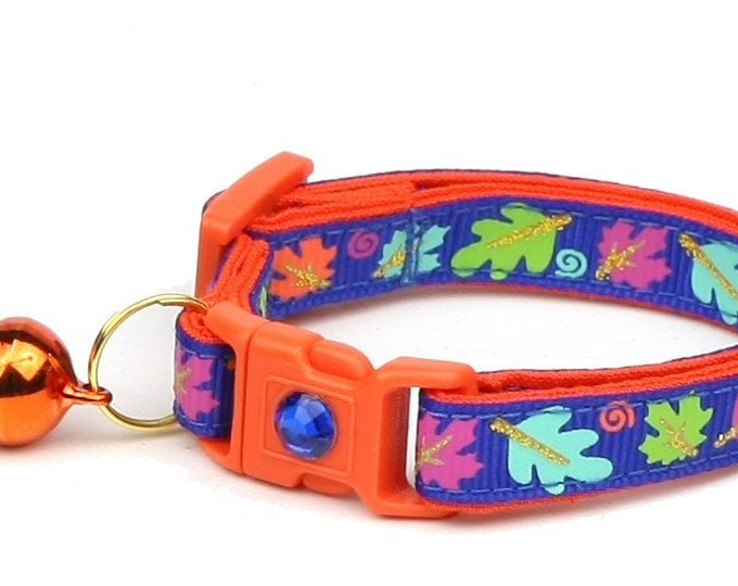 Fall Cat Collar - Colorful Leaves on Royal Blue - Small Cat/ Kitten Size or Large Size Collar