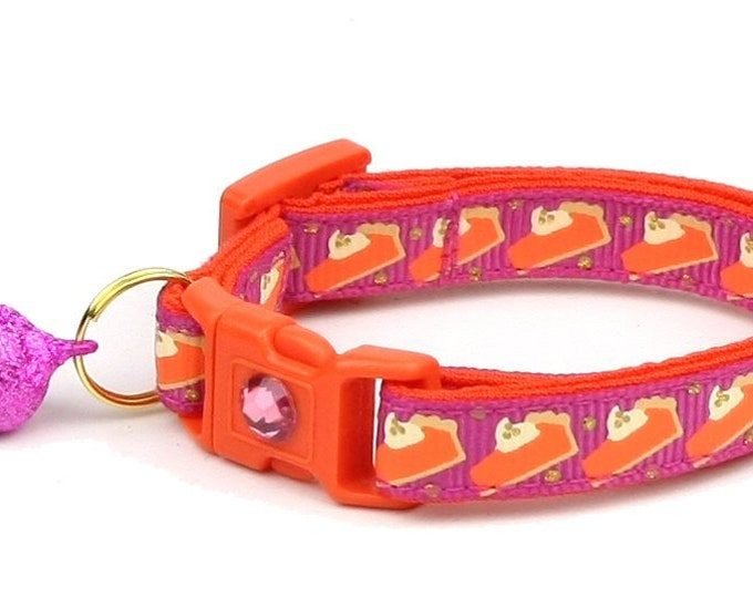 Thanksgiving Cat Collar - Pumpkin Pie Slices on Pink - Small Cat / Kitten Size or Large Size
