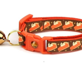 Thanksgiving Cat Collar - Pumpkin Pie Slices on Brown - Small Cat / Kitten Size or Large Size D53
