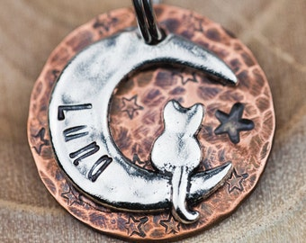 "Custom Cat Tag - Small Cat on the Moon (Silver-tone) - 7/8"" Copper Pet ID Tag - Hand Stamped Cat ID Tag"
