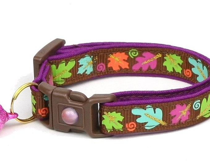 Fall Cat Collar - Colorful Leaves on Brown - Small Cat/ Kitten Size or Large Size Collar