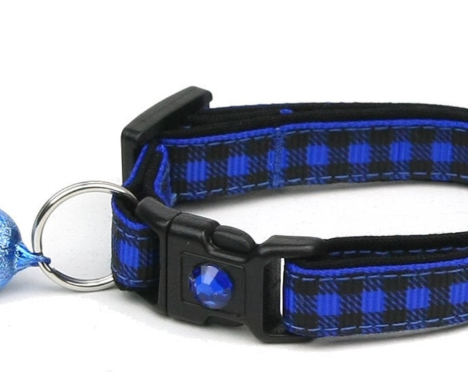 Plaid Cat Collar - Buffalo Plaid on Royal Blue - Small Cat / Kitten Size or Large Size