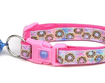 Donut Cat Collar - Sprinkle Donuts on Pink and Blue - Small Cat / Kitten Size or Large Size