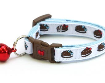 Cookie Cat Collar - Chocolate Sandwich Cookies - Safety Breakaway - Kitten or Large Size D27