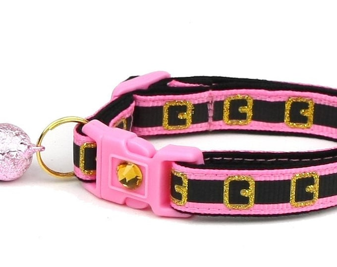 Christmas Cat Collar - Pink Santa Belt - Small Cat / Kitten Size or Large(standard) Size Collar